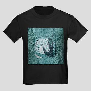 Carousel Horse Aquamarine Kids Dark T-Shirt