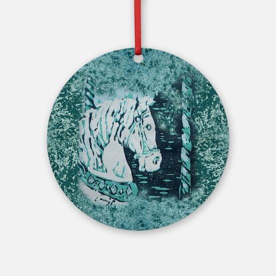 Carousel Horse Aquamarine Round Ornament