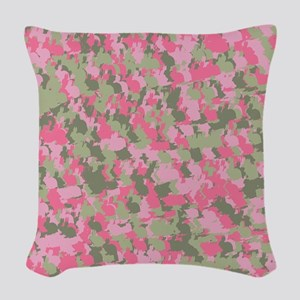Pink Bunnyflage 2 Woven Throw Pillow