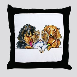 3 Longhaired Dachshunds Throw Pillow