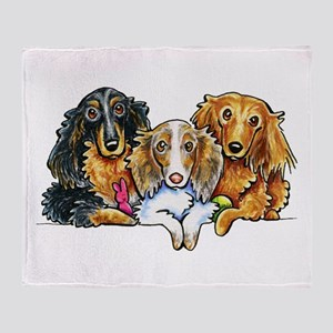 3 Longhaired Dachshunds Throw Blanket