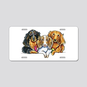 3 Longhaired Dachshunds Aluminum License Plate