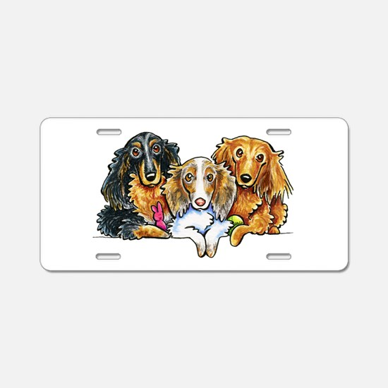 3 Longhaired Dachshunds Aluminum License Plate