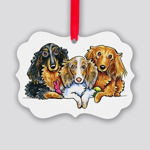 3 Longhaired Dachshunds Ornament