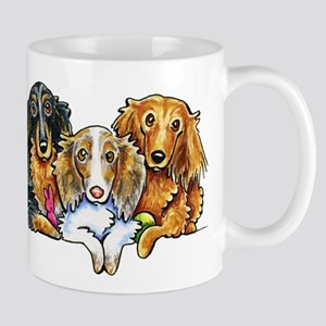 3 Longhaired Dachshunds Mugs