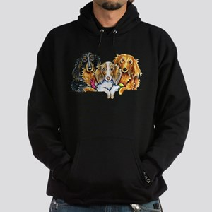 3 Longhaired Dachshunds Hoodie