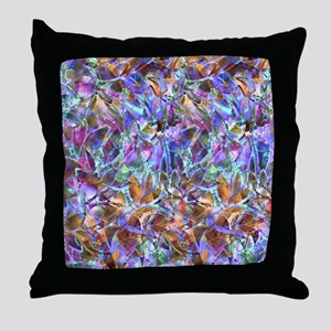 Floral Stained Glass 2 Throw Pillow