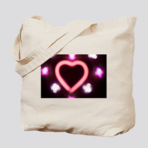Neon love heart shape sign at night Tote Bag