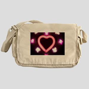Neon love heart shape sign at night Messenger Bag