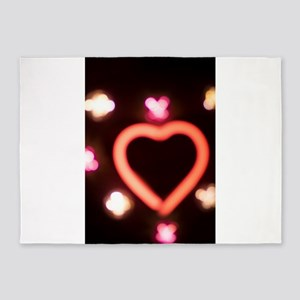 Neon love heart shape sign at night 5'x7'Area Rug