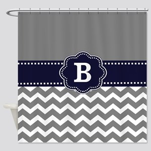 Gray Navy Chevron Monogram Shower Curtain