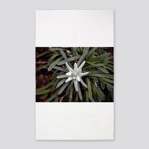 White Alpine Edelweiss Flower Area Rug