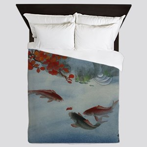 Koi Fish and Flowers Queen Duvet