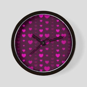 Violet Hearts Wall Clock