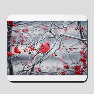Red Bird & Berries Mousepad