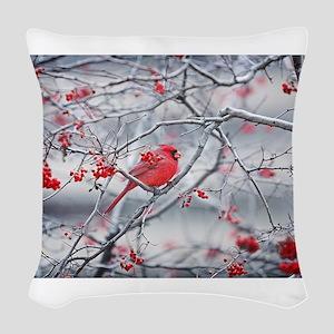 Red Bird & Berries Woven Throw Pillow