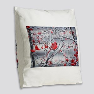 Red Bird & Berries Burlap Throw Pillow
