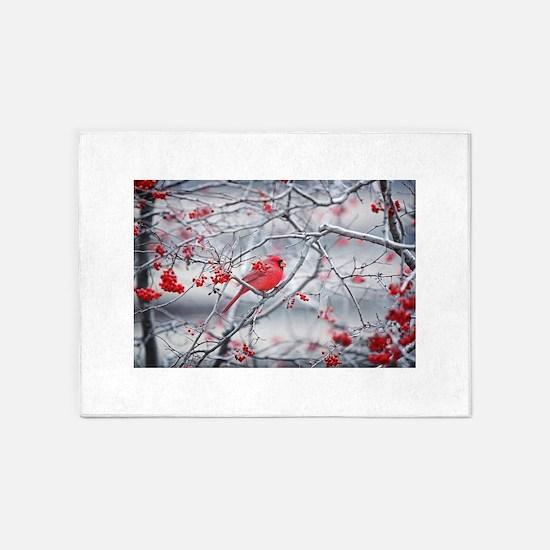 Red Bird & Berries 5'x7'Area Rug