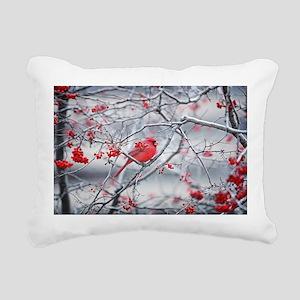 Red Bird & Berries Rectangular Canvas Pillow