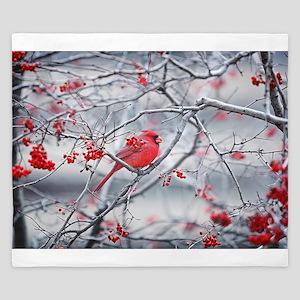 Red Bird & Berries King Duvet