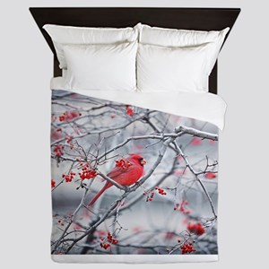Red Bird & Berries Queen Duvet