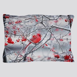 Red Bird & Berries Pillow Case