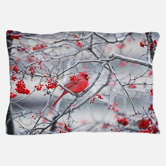 Red Bird & Berries Pillow Case