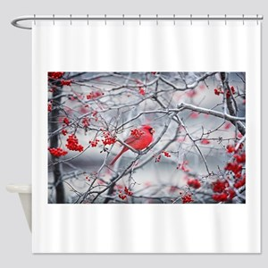 Red Bird Berries Shower Curtain