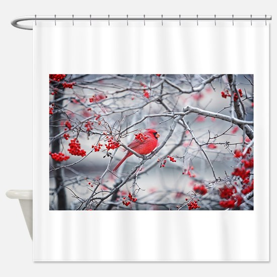 Red Bird & Berries Shower Curtain