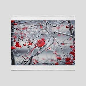 Red Bird & Berries Throw Blanket