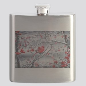 Red Bird & Berries Flask