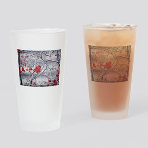Red Bird & Berries Drinking Glass