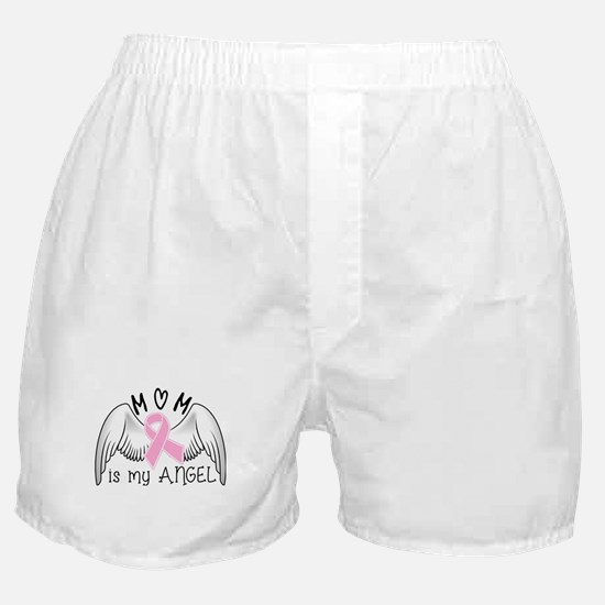 Breast Cancer Awareness Mom Is My Angel Boxer Shor