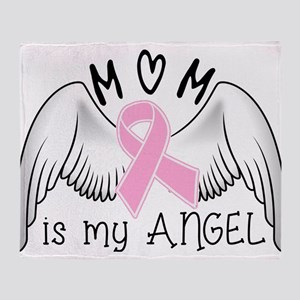 Breast Cancer Awareness Mom Is My Angel Throw Blan