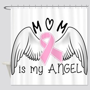 Breast Cancer Awareness Mom Is My Angel Shower Cur