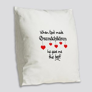 GRANDCHILDREN ARE THE BEST Burlap Throw Pillow