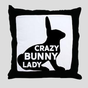 Crazy Bunny Lady Throw Pillow