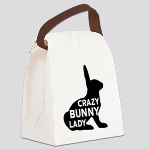 Crazy Bunny Lady Canvas Lunch Bag