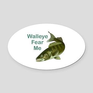WALLEYE FEAR ME Oval Car Magnet