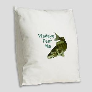WALLEYE FEAR ME Burlap Throw Pillow