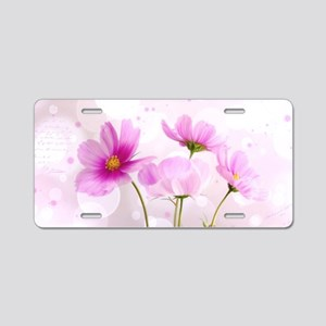 Pink Cosmos Flower Aluminum License Plate