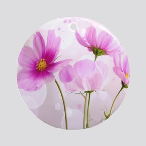 Pink Cosmos Flower Ornament (Round)