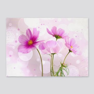 Pink Cosmos Flower 5'x7'Area Rug