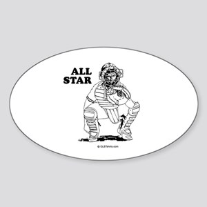 All star catcher Oval Sticker