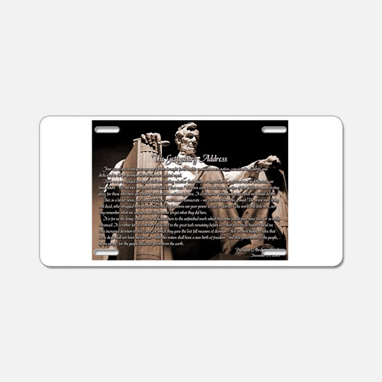 Gettysburg Address Aluminum License Plate