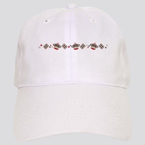 Sock Monkey Border Baseball Cap