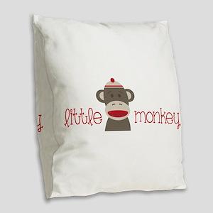 Little Monkey Burlap Throw Pillow