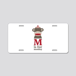 M Is For Monkey Aluminum License Plate