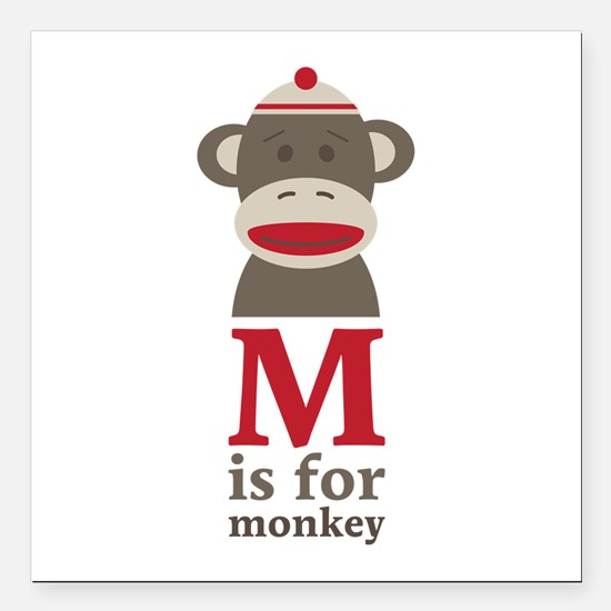 "M Is For Monkey Square Car Magnet 3"" x 3"""