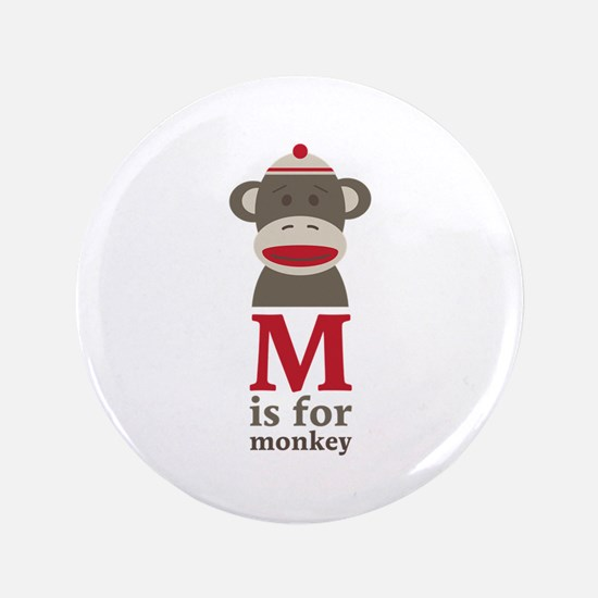 "M Is For Monkey 3.5"" Button (100 pack)"